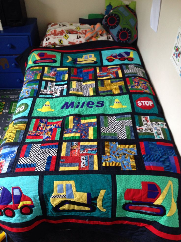 An adaption of Poppa's Diggers quilt design for 4 year old grandson