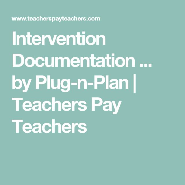 Intervention Documentation ... by Plug-n-Plan | Teachers Pay Teachers