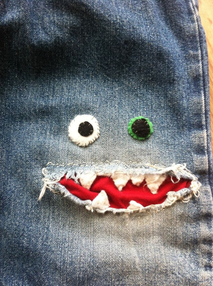 Patched jeans! This would be so cute on a little boy!