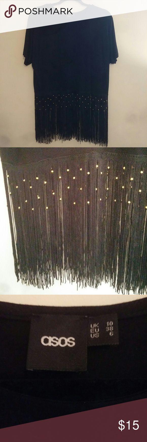 ASOS black fringe beaded shirt Black ASOS fringe shirt with gold beading! I've only worn it once or twice! Asos Tops Tees - Short Sleeve