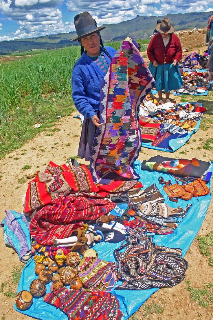 Quetchua woman selling crafts at a roadside market, Urubamba valley, Andes Mts, Peru