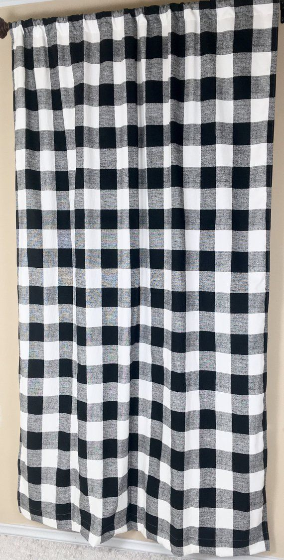 Black And White Curtain Panels Buffalo Check Curtains Nursery