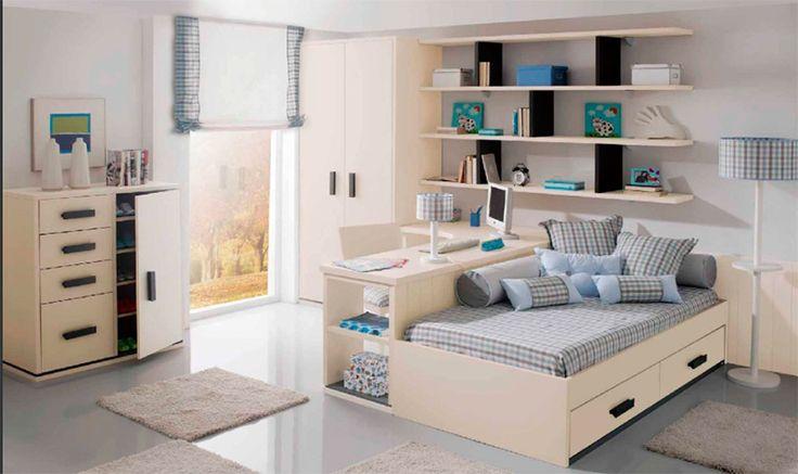 Dormitorio juvenil y para ni os con doble cara en una la zona de estudio y en la otra la cama - Dormitorios infantiles dobles ...