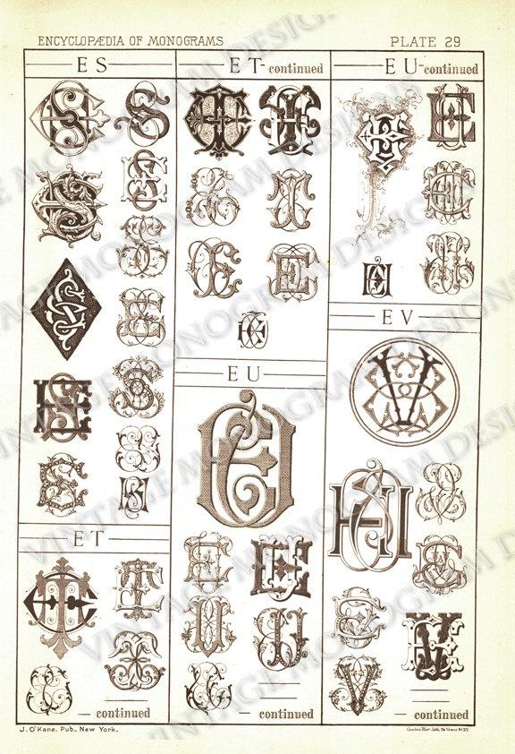 Monograms ES through EV - page scan from vintage monogram book. $5.00, via Etsy.