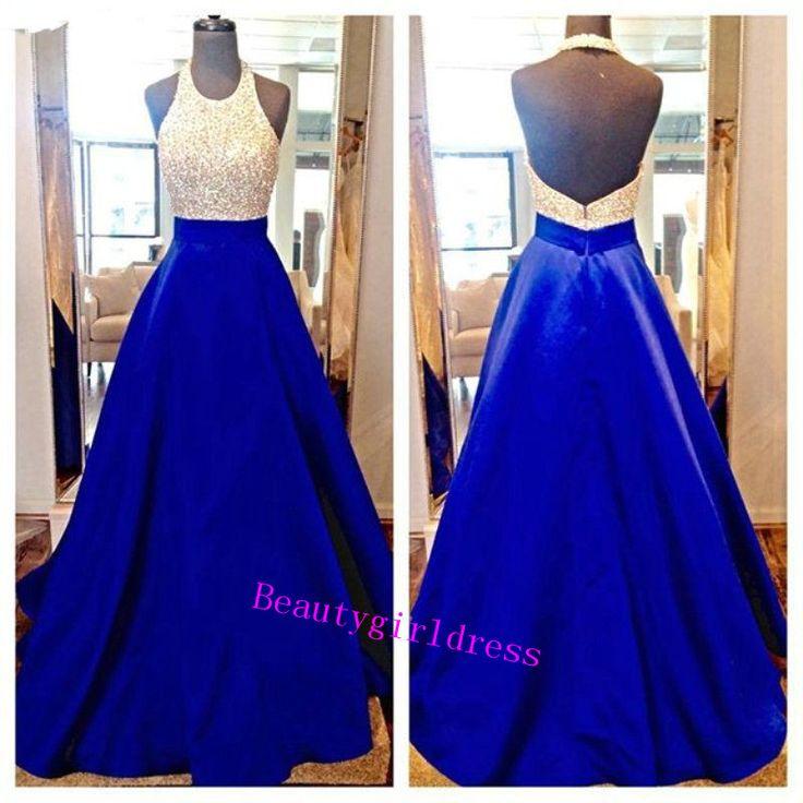 Bg197 Charming Prom Dress,Royal Blue Prom Dress,Beading Prom Dress,Halter Prom Dress,A Line Prom Dress,Prom Dress for Teens http://www.coniefoxdress.com/