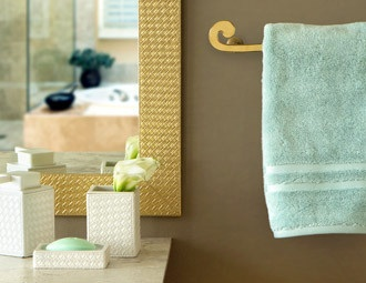 I like the mirror and towel holder - they have it in gold and silver - like both!
