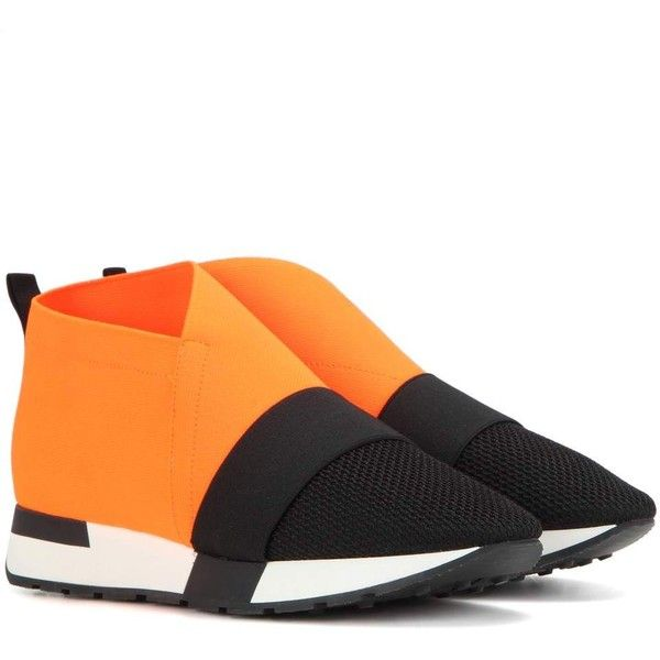 Balenciaga High-Top Fabric Sneakers ($640) ❤ liked on Polyvore featuring shoes, sneakers, orange, orange high tops, balenciaga trainers, balenciaga sneakers, orange shoes and hi tops