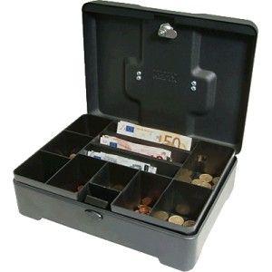Caja de caudales de acero y acabado en titanio con 8 compartimentos para monedas y 3 para billetes.  Medidas: 31,2 x 24,2 x 10 cm.