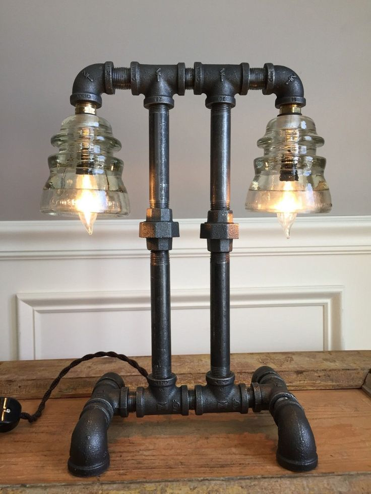 Vintage Industrial Steampunk Lamp Glass Insulator Light Machine Age Lighting Black Pipe Gauge Light by UpscaleIndustrial on Etsy