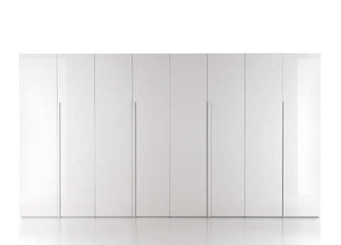 Simple white gloss wardrobes.