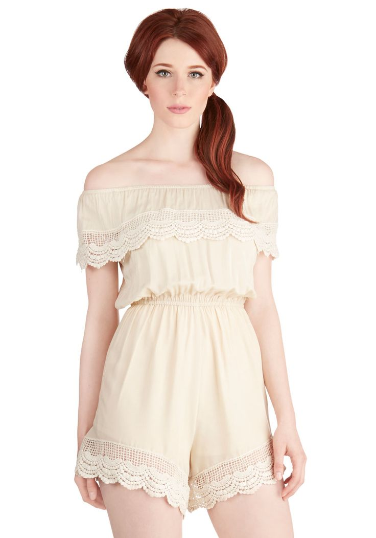 Sunshine Your Light Romper in Ivory. After placing a fresh-picked buttercup behind your ear, you lean back on your picnic blanket and soak up the sun in this ivory romper. #cream #modcloth