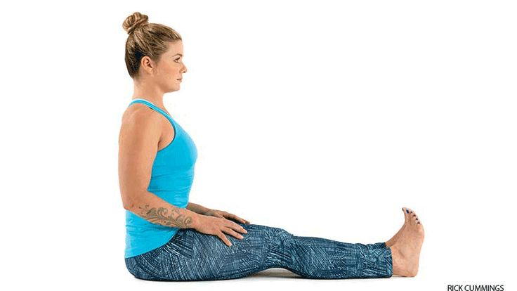 Seated Forward Bend for neck and shoulder strain.