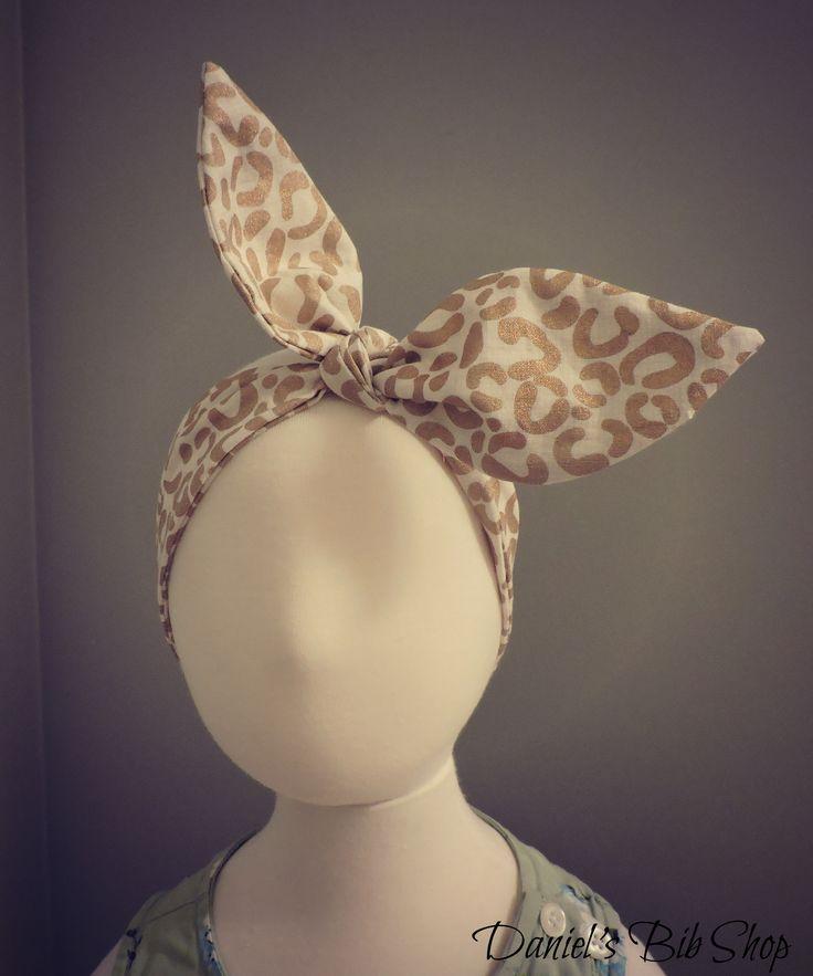 Handmade Gold Cheetah Print Knotted Headband