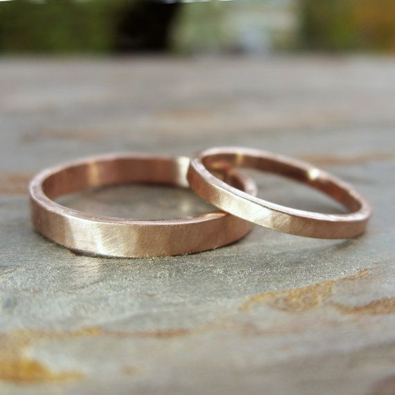 Hammered Matching Wedding Band Set in Solid 14k Yellow or Rose Gold - Flat Bands…