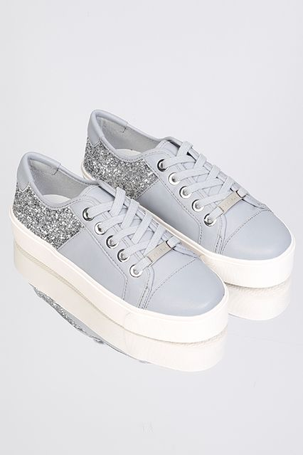 Kurt Geiger Trainers - Blue Trainers with Silver Glitter.