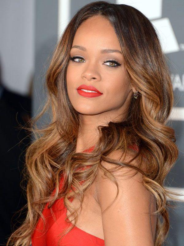 Rihanna looks gorgeous with caramel blonde