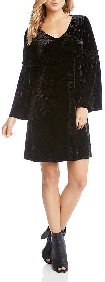 Karen Kane Crushed Velvet Bell Sleeve Dress