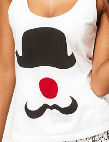 Funny Hat Printed Scoop Neck Basic White Tank Top, Shop online for $9.30 Cheap Tank Tops code 732772 | TRENDY 21