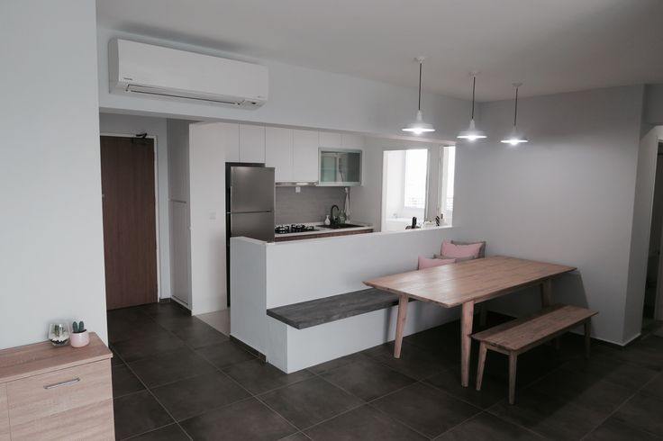 Minimalist white brown wood kitchen simple clean quartz fridge scandi modern hdb bto Singapore dining area grey blush cement tiles white pendant lamps vintage apartment