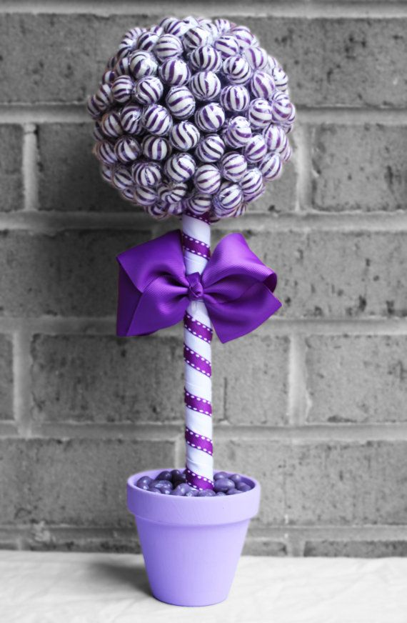 Click here for more lollipop bouquets, arrangements and more! Small Lollipop Topiary Purple by EdibleWeddings on Etsy, $34.99. Purple, White, Lollipop, Topiary, Tree, Jelly beans, Birthday, Wedding, Rehearsal Dinner, Bridal Shower, Baby Shower, Custom, Customized
