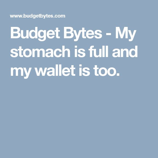 Budget Bytes - My stomach is full and my wallet is too.