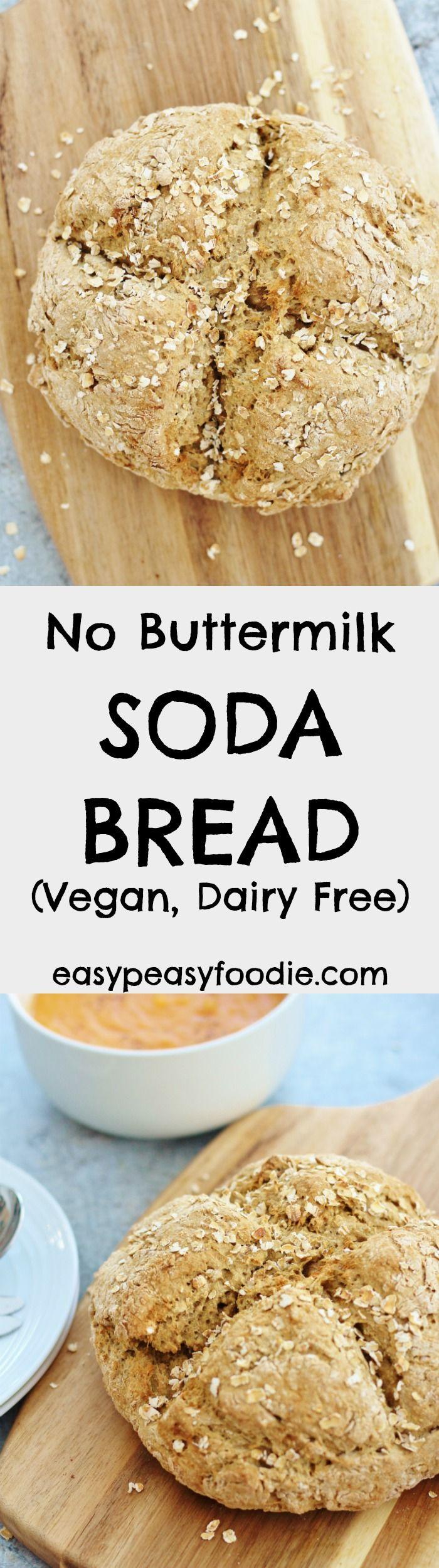 No Buttermilk Soda Bread (Vegan & Dairy Free) via @easypeasyfoodie