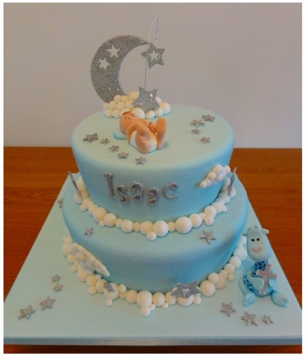Moon Amp Stars Christening Cake Possibly For Baby Shower