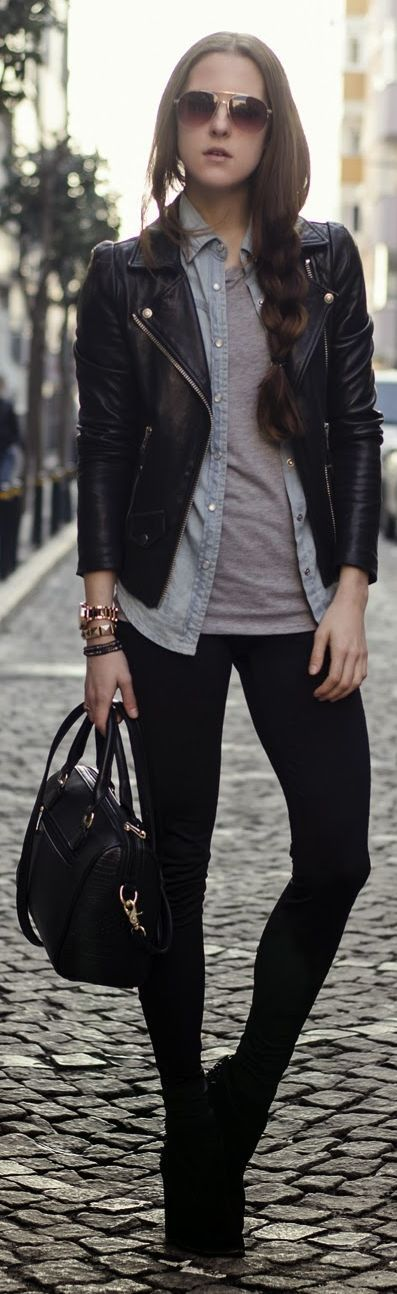 layering: black leather jacket + open denim shirt + gray T + black leggings + booties