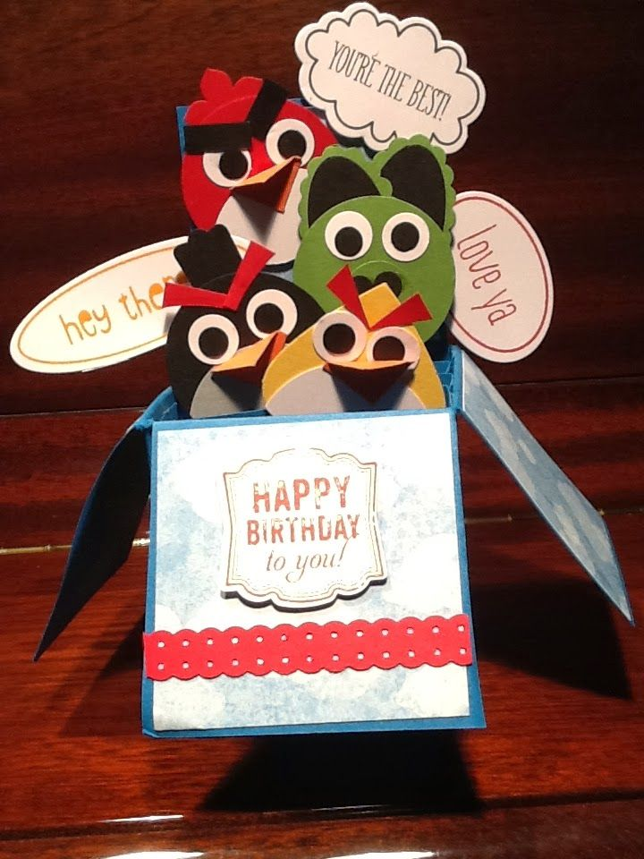 Card in a box  Angry Birds with various Stampin' Up punches #cardinabox