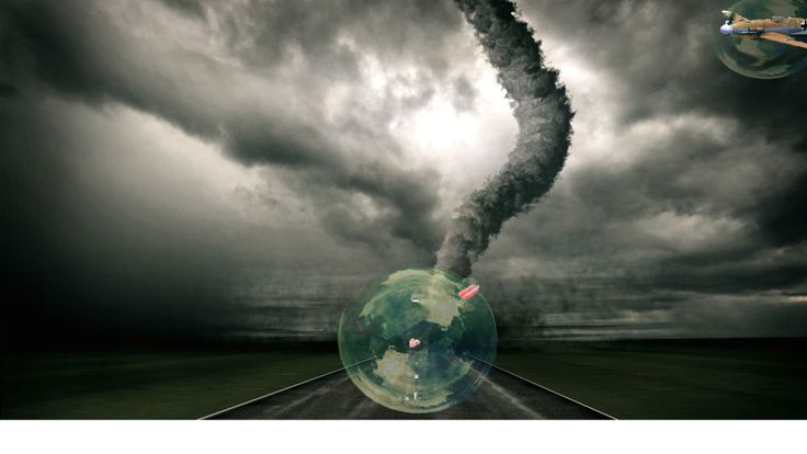 "If there is super power, what kind of power do you want. I name this picture ""super power"". First I found a picture of natural disaster like tornado, tsunami or volcano eruption., then find a animal or human and put it in front of the natural disaster. I put a bubble behind the man so it might look like the man is destroying the tornado"