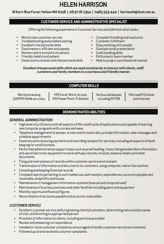 Administrative specialist resume template