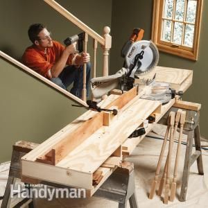 How to Build a Miter Saw Table http://www.familyhandyman.com/tools/miter-saws/how-to-build-a-miter-saw-table/view-all