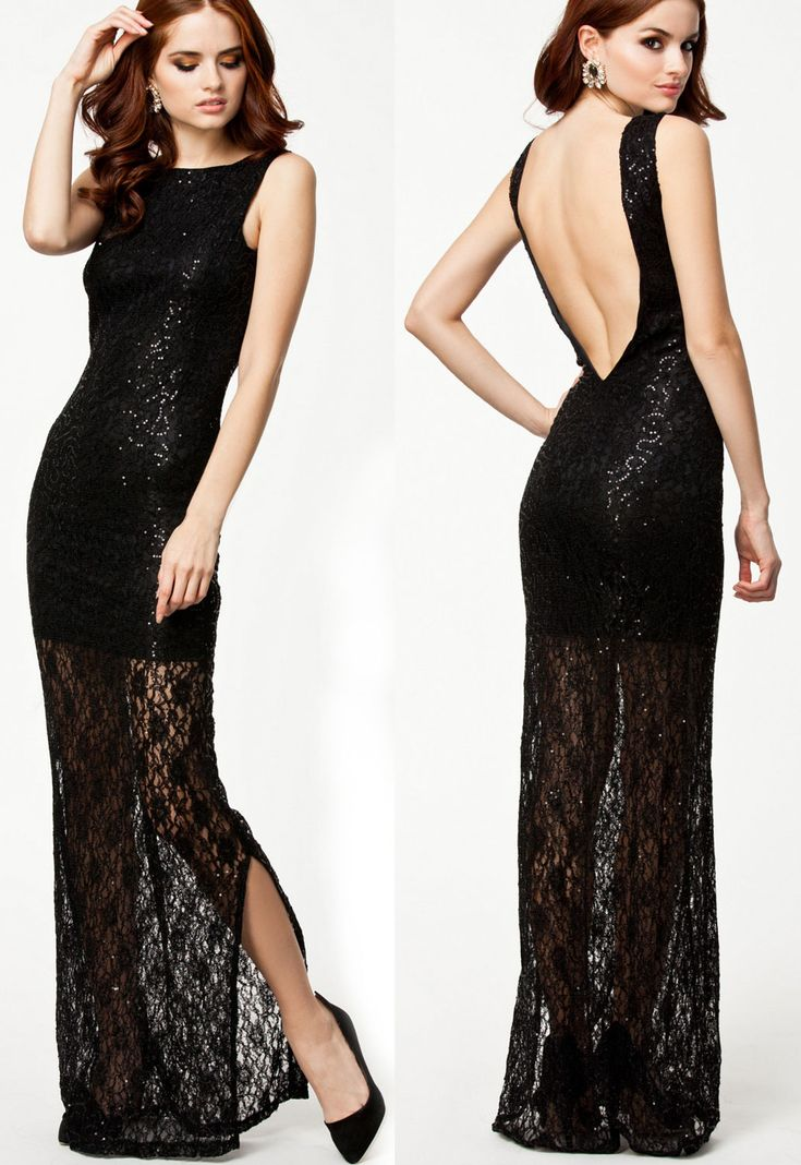 WomensDate Latest Autumn Trendy Noble Women Black Lace Maxi Dress With Sequins Sexy Backless Club Dresses Long