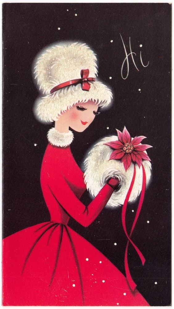 Vintage Greeting Card Christmas Cute Girl Glittered Fur Hat Muff Mid-Century