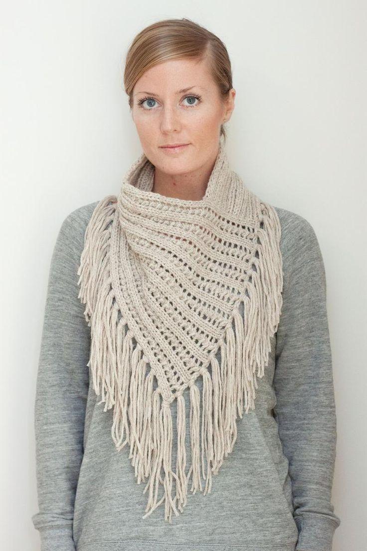 KNITTING PATTERN — Chunky eyelet rib bandana style scarf ...