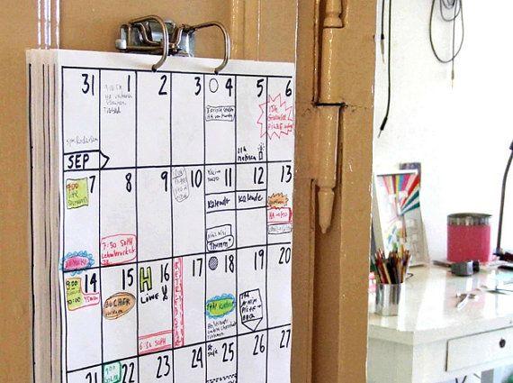 Planner by hippie-projects    *looptijd altijd 18 maanden  *kiez zelf de beginmaand van je planner  *Din A3 formaat  *80 gr papier  *inclusief