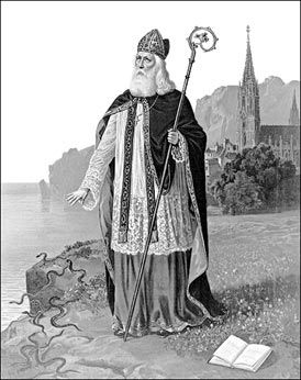 """An Image depicting St Patrick casting the snakes into the sea.Since snakes often represent evil in literature, """"when Patrick drives the snakes out of Ireland, it is symbolically saying he drove the old, evil, pagan ways out of Ireland [and] brought in a new age,"""" said classics professor Philip Freeman of Luther College in Iowa. -"""