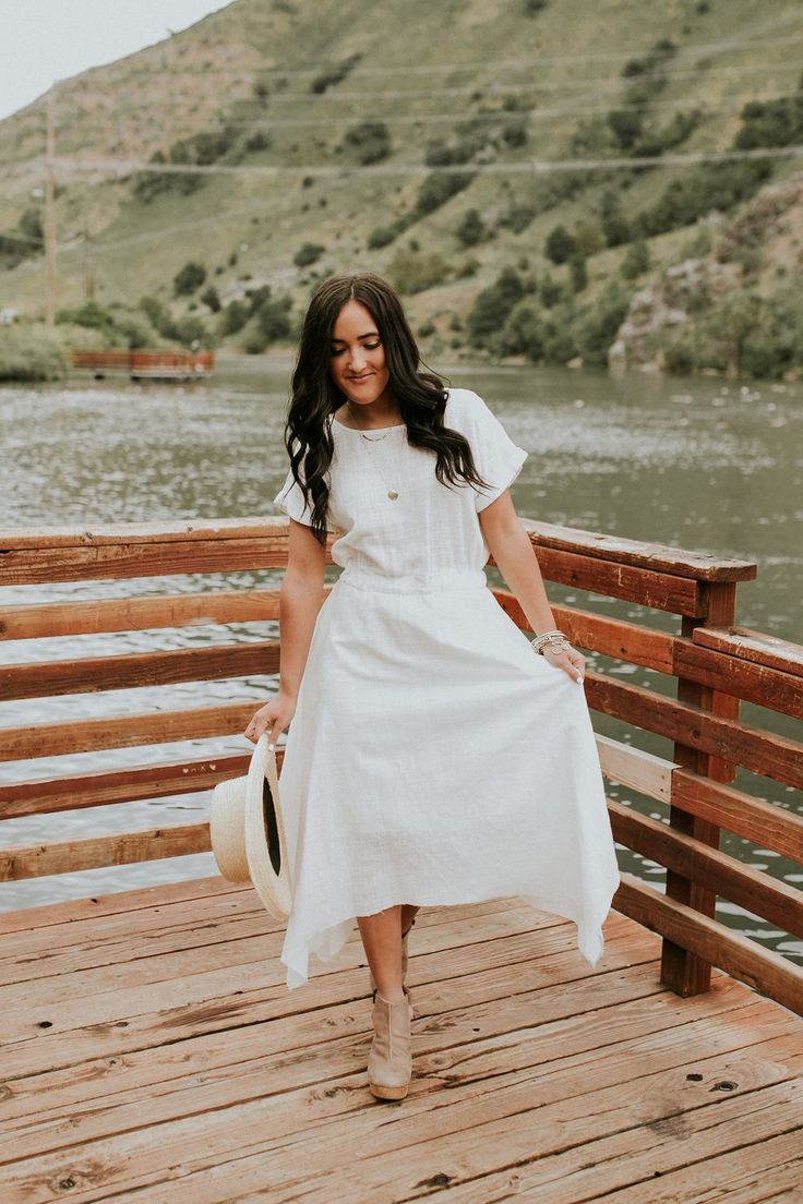 White Linen Dress with Elastic Waist + Pockets | ROOLEE