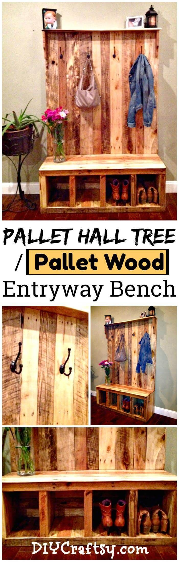 DIY Your Own Pallet Hall Tree or Pallet Wood Entryway Bench #woodworkingbench