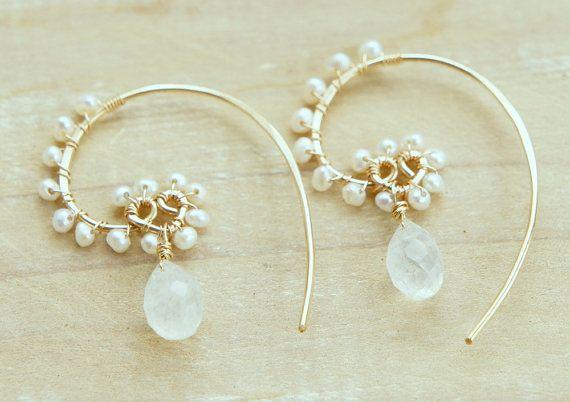 Moonstone Earrings Fresh Water Pearl Gold Hoops Wire Wrapped White Wedding Eregant Earrings Gift for her