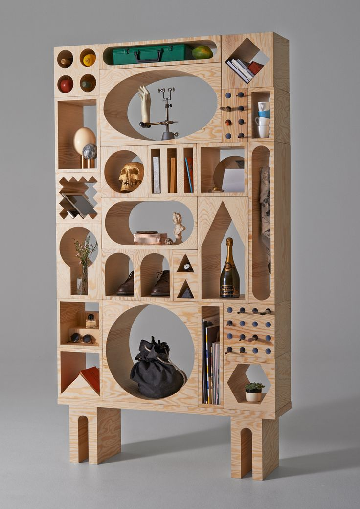 The Room Collection system is a modular shelving unit