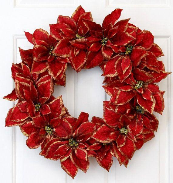 Poinsettia Gold-Tip Holiday Christmas Wreath // Christmas Wreath Decoration // Holiday Wreath Christmas // Front Door Christmas. $75.00, via Etsy.