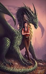 Mirrim and her green dragon, Path. Dragonriders of Pern idea.