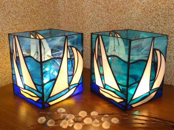 Sailboat Stained Glass Boat Candle Holder Light Box Lantern Handmade Tealight Nightlight Nautical Decor Illumination Led Bedside Lamp In 2020 Stained Glass Candles Stained Glass Candle Holders Glass Boat