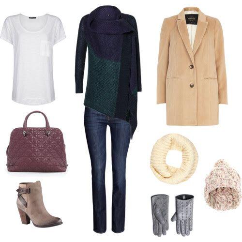 TrousersHM T-shirt, bag Mango Sweater gloves Benetton Coat, scarf River Island Cap New Look Shoes Aldo
