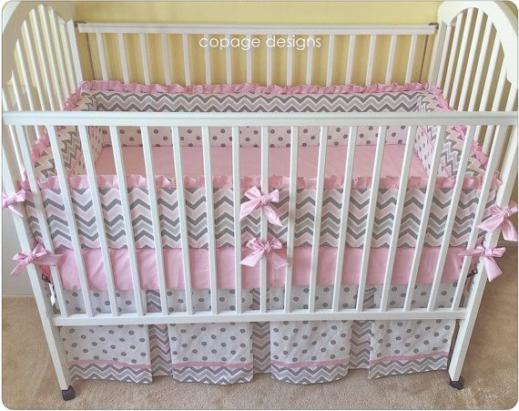 Pink and Gray Chevron Baby Nursery 3-Piece Crib by copagedesigns