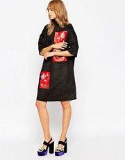 A V Robertson for ASOS BLACK Funnel Neck Dress With Embellished Panel