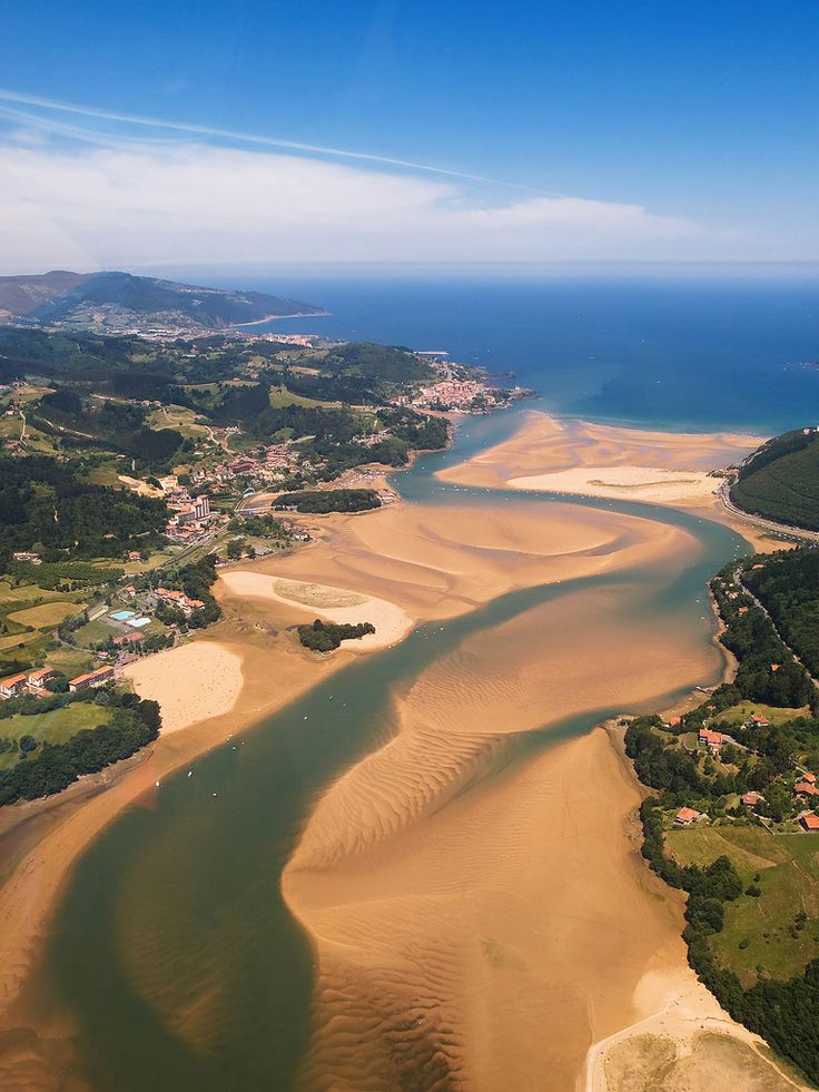 Urdaibai estuary and the town of Mundaka in the province of Biscay, Basque Country, northern Spain.