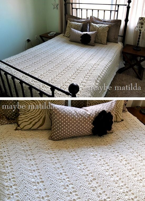 Grandma's Lacy Ripple, from Rachel of Maybe Matilda.  Free crochet pattern.- For Maren's bed