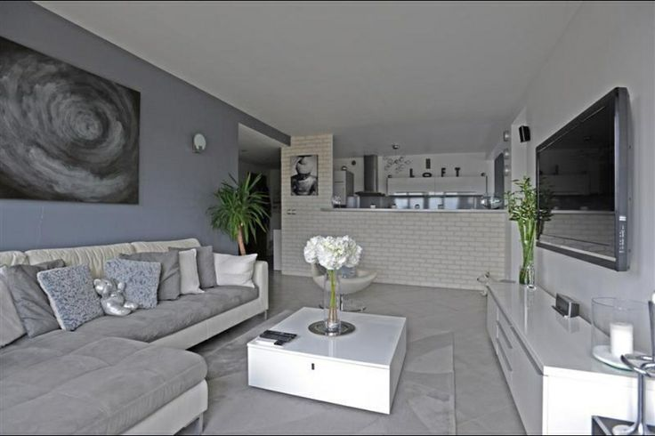 Salon gris blanc salon pinterest salons for Idee deco appartement moderne